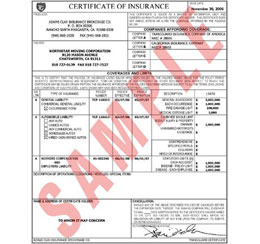 Insurance Certificate Listing Customer as Additional Insured